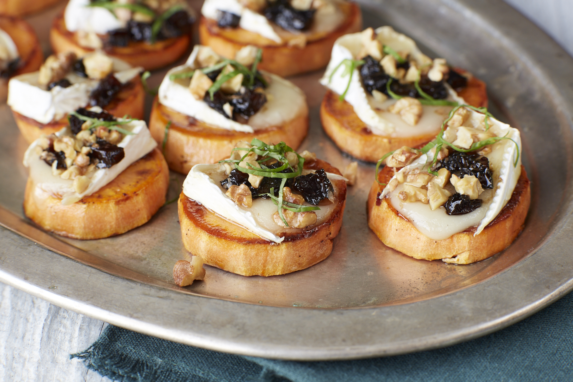 Prune, Yam and Brie Crostini