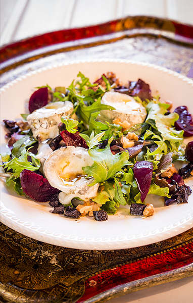Warm Goat Cheese, Beet, Walnut and Prune Salad
