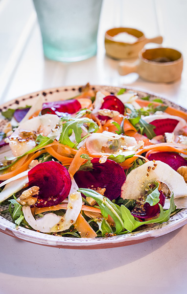 Shaved Salad with Prune Dressing