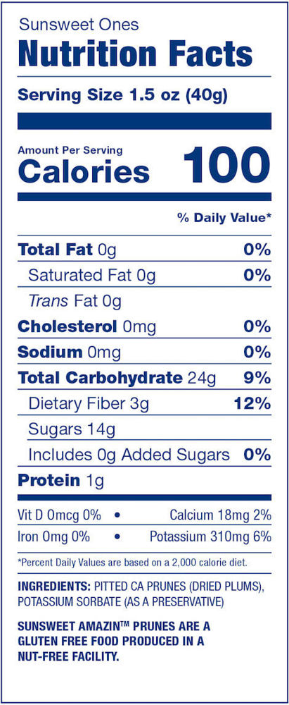 Sunsweet Ones Nutrition Facts